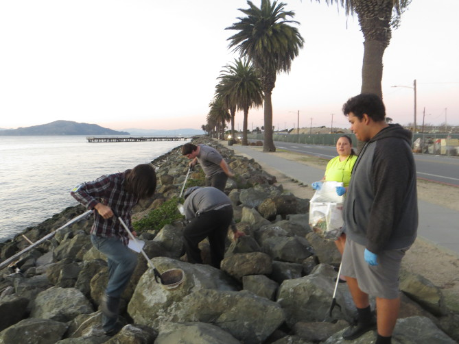 Picture of TI Job Corps students performing shoreline clean-up