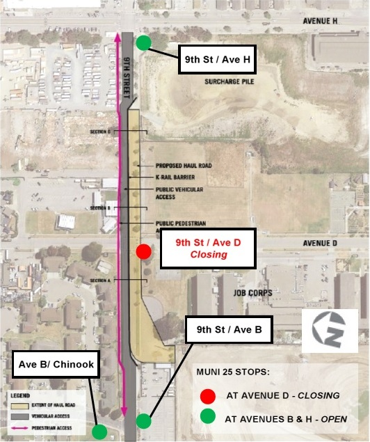 Image of planned lane realignment and bus stop closure on 9th Street