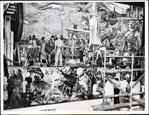 Diego Rivera and his assistant working on a Pan American Unity Mural