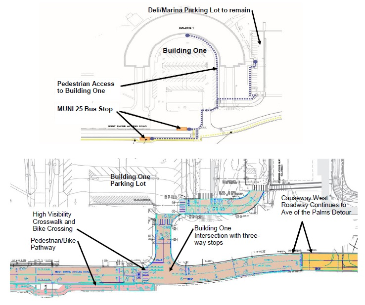 Image of traffic circulation changes around the Administration Building as of 7/11/20