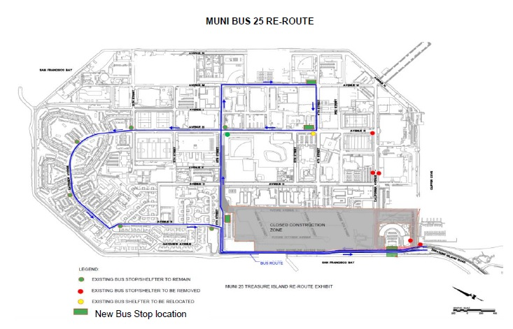Image of Treasure Island MUNI 25 route and stop changes as of July 11, 2020