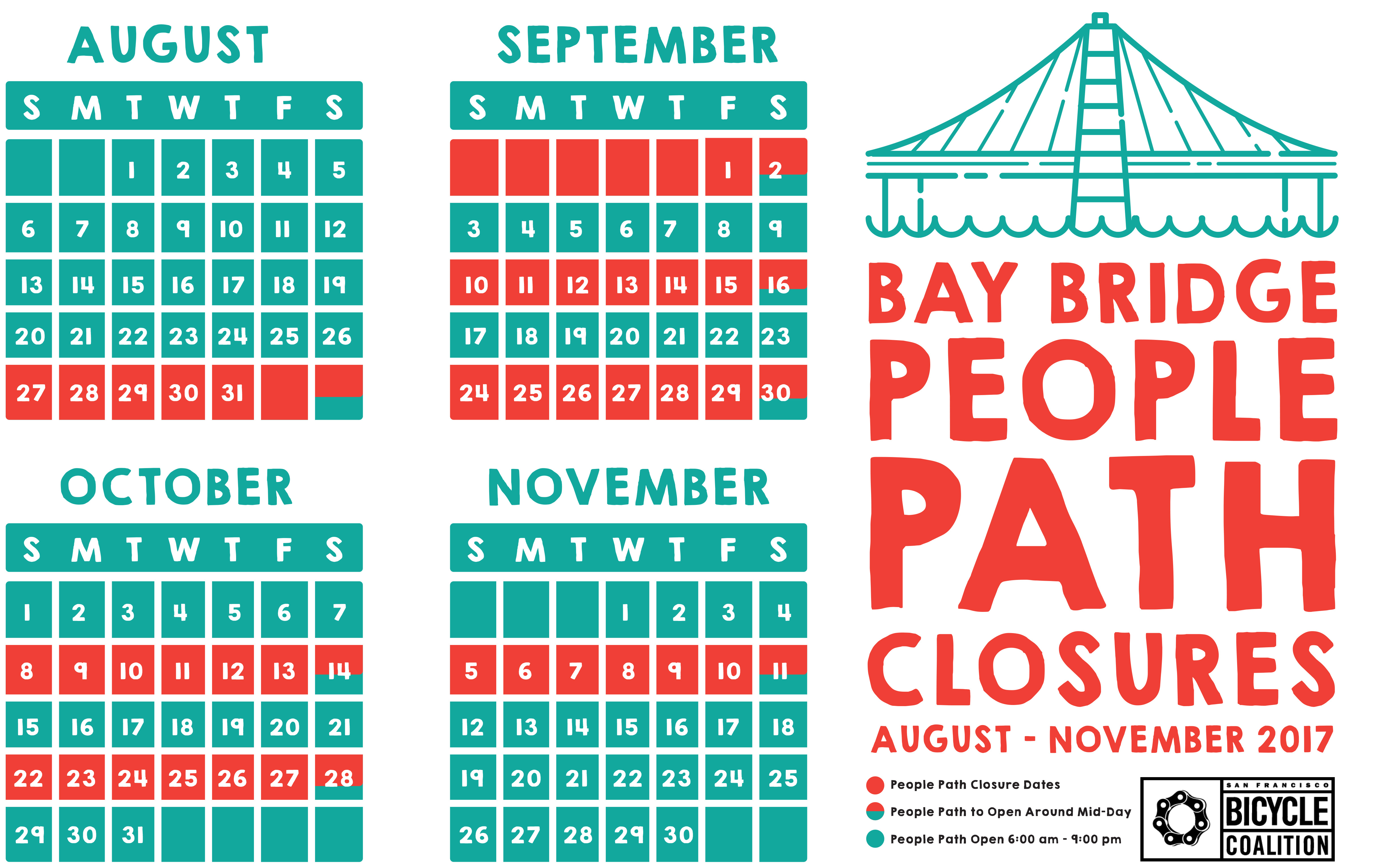 Image of Bay Bridge People Path Closure Calendar