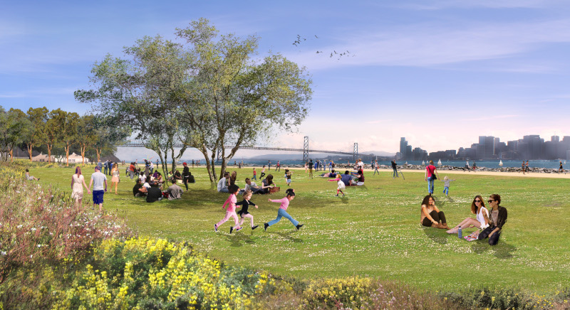 Image of rendering of future Cityside Park on Treasure Island