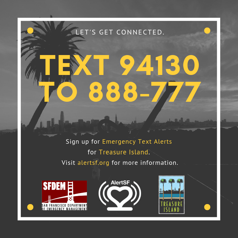 Text 94130 to 888-777 for AlertSF emergency alerts on TI