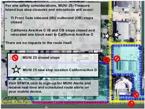 Map of MUNI 25 stop closures and relocations