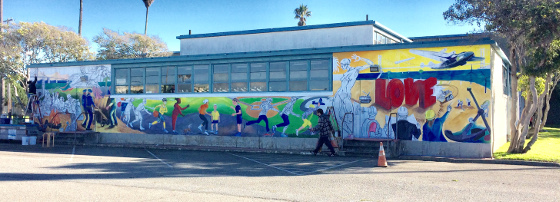 Image of TI Gym wall to be painted with Community Mural