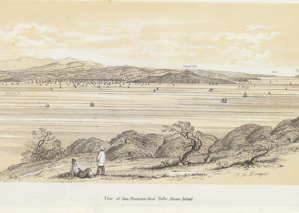 Image of illustrated view of San Francisco from Yerba Buena Island ca. 1852