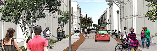Rendering of street view from TI Streetscape Master Plan