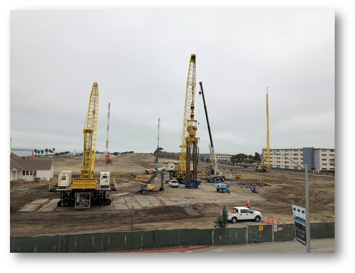 Image of equipment associated with geotechnical improvements on Treasure Island