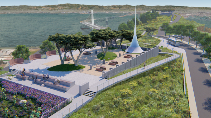 Image of rendering of future HIlltop Park on Yerba Buena Island