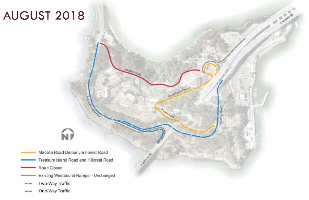 Image of map of current road closures and detour roads on Yerba Buena Island
